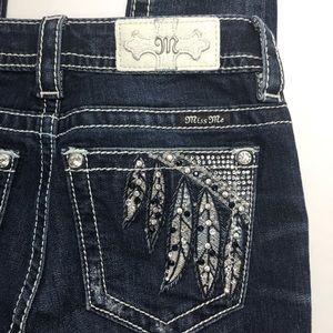 Miss Me skinny jeans size 26 feather rhinestone